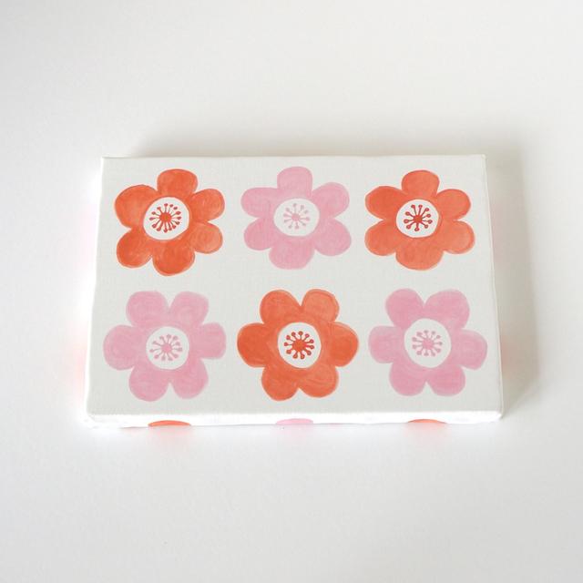 anemone ファブリックパネル (ピンク&オレンジ)