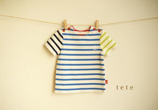 【size80】カラフルボーダーTシャツ(マリンブルー)