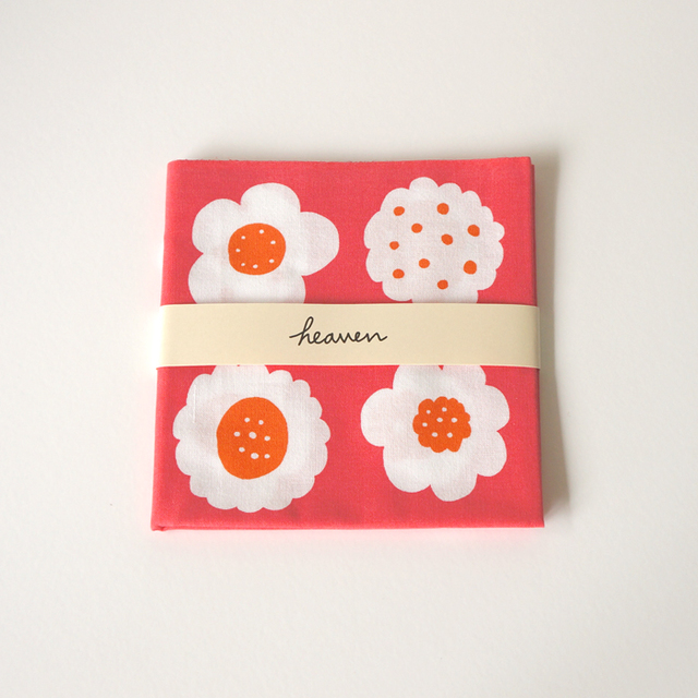 フラワークッキーてぬぐい(ピンク×オレンジ)