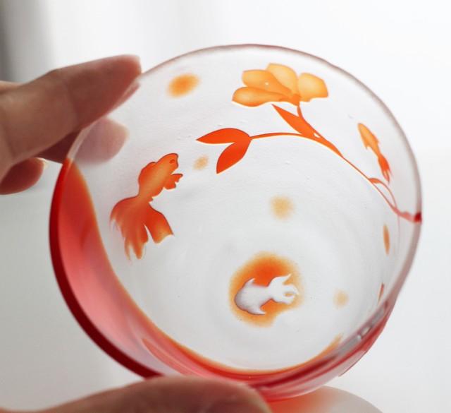 〜fish&flower〜金魚とお花の冷茶グラス
