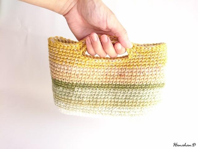 虹色ハンドバッグ 手編みウール
