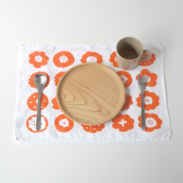 フラワークッキー ティータオル M (オレンジ・キッチンリネンタオル)