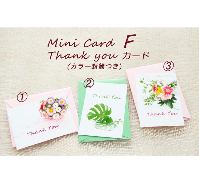 F ThankYouカード(ミニカード)カラー封筒つき   3組セット