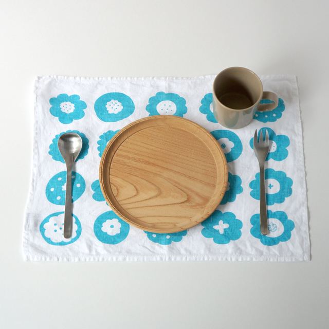 フラワークッキー ティータオル M (ブルー・キッチンリネンタオル)