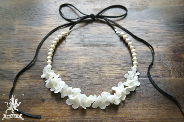 necklace 【 布花ネックレス *hydrangea & cotton pearl 】