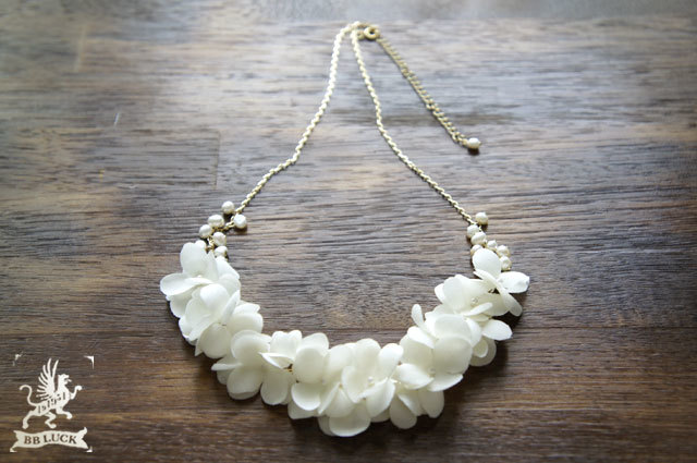 necklace 【 布花ネックレス * hydrangea & fresh water pearl 】