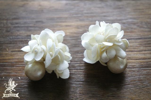 pierce 【 布花ピアス * hydrangea & cotton pearl  】