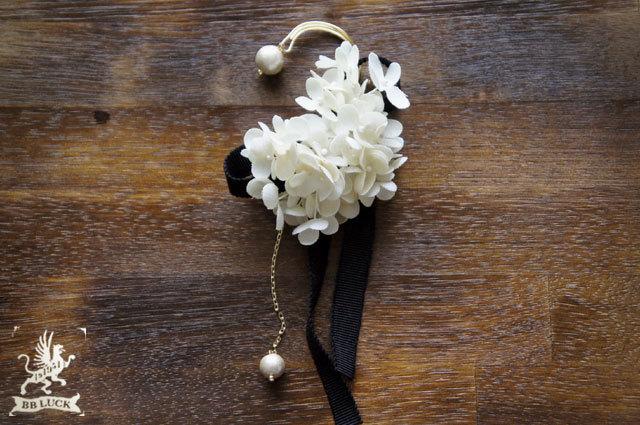 ear hook 【 布花イヤーフック * hydrangea & cotton pearl 】