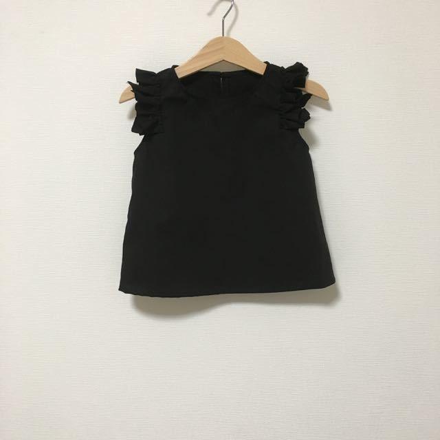 変形フリル袖トップスブラック サイズ90