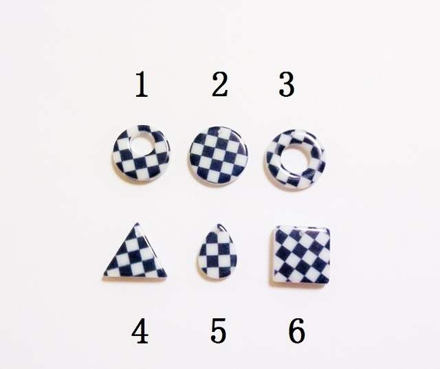 【3】 市松模様パーツ 5個