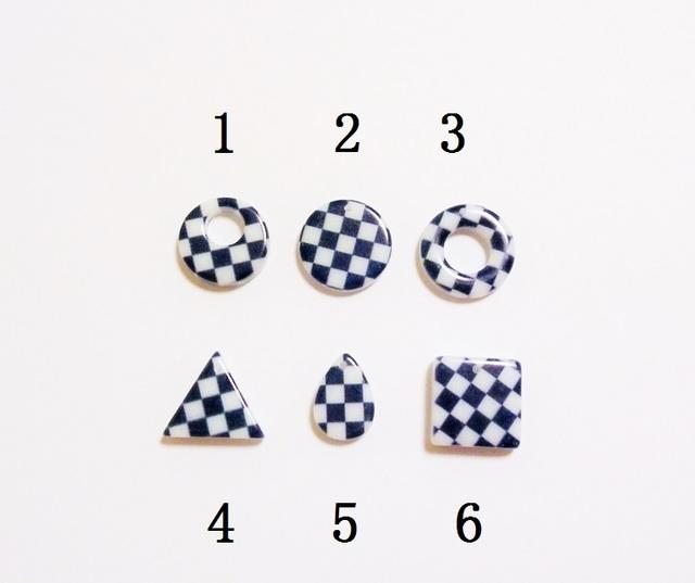 【6】 市松模様パーツ 5個