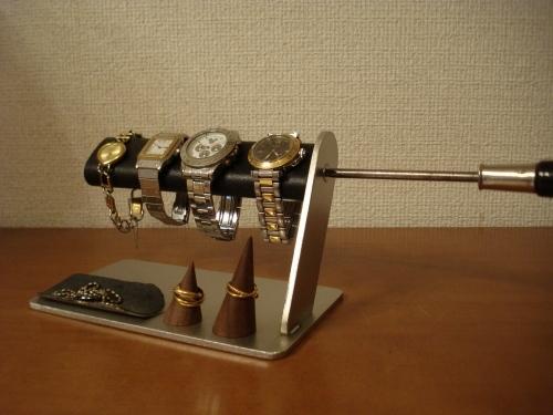 彼氏へのプレゼントに!ドライバーでだ円パイプの角度を変えることが出来る腕時計スタンド リングスタンド、トレイ付き