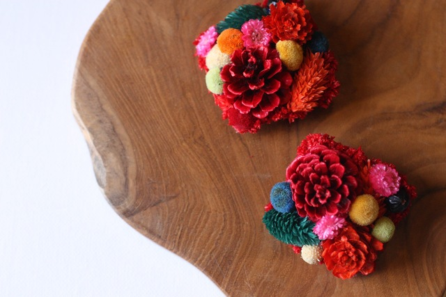 □botanical brooch pin sikaku□colorfull