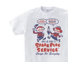 スパークプラグとBoy & Girl★アメリカンレトロ【片面B柄】 WS〜WM?S〜XL Tシャツ【受注生産品】