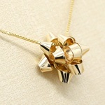 *14kgf*星形りぼん*スターボウ*ネックレス【金】star bow gold necklace