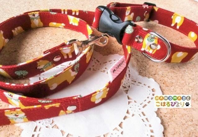 【再販・受注制作】柴犬柄の犬用首輪とリードセット(赤)