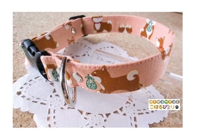 【再販・受注制作】柴犬柄の犬用首輪(ピンク)