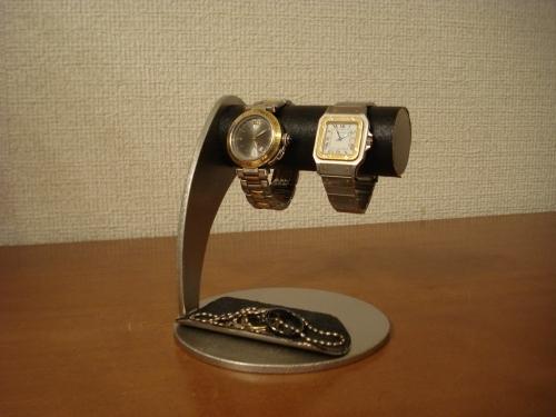 誕生日のプレゼントに!ブラック2本掛けハーフパイプトレイ腕時計スタンド