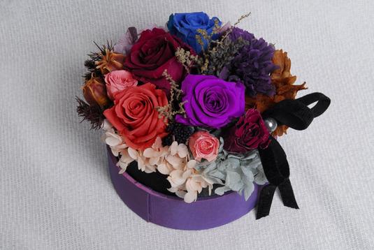 紫シサルボックスアレンジプリザーブド