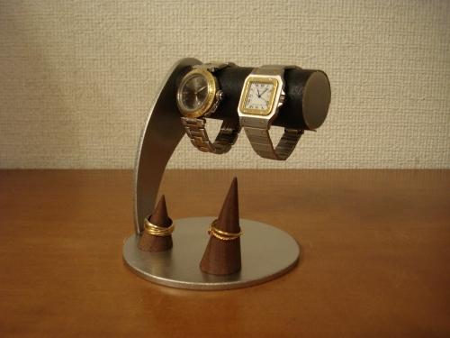 カップルにどうぞ!ブラック丸台座ダブルリングスタンド付き腕時計スタンド