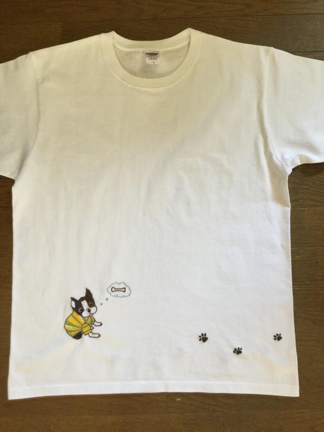 ボストンテリアの手刺繍シャツ