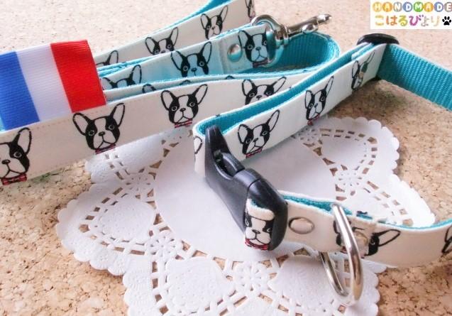 【再販 受注制作】フレンチブルドッグ柄 犬用首輪とリードセット(中型犬用)