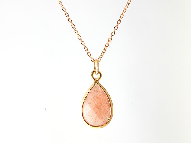 14KGF Orange Moonstone Frame Necklace