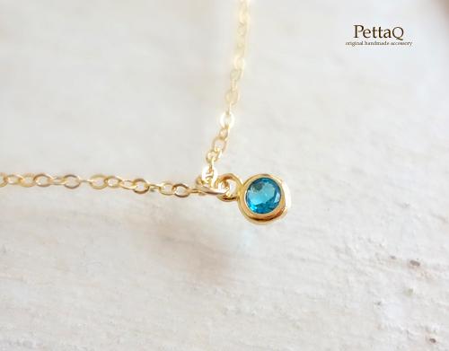 【14KGF】宝石質ネオンブルーアパタイトのプチネックレス