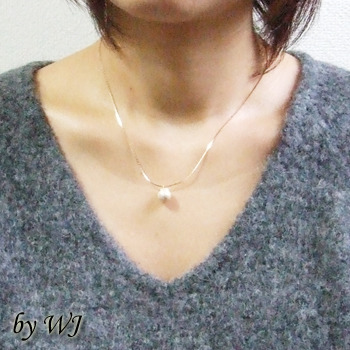 [N12-42]コットンパール一粒ネックレス