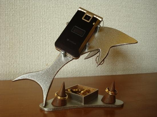 結婚祝いに!携帯電話 角トレイ&リングスタンド付きドルフィン携帯電話スタンド
