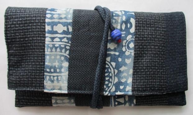 着物リメイク 藍大島で作った和風財布 1764