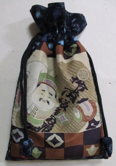 着物リメイク 絣で作った巾着袋 1765