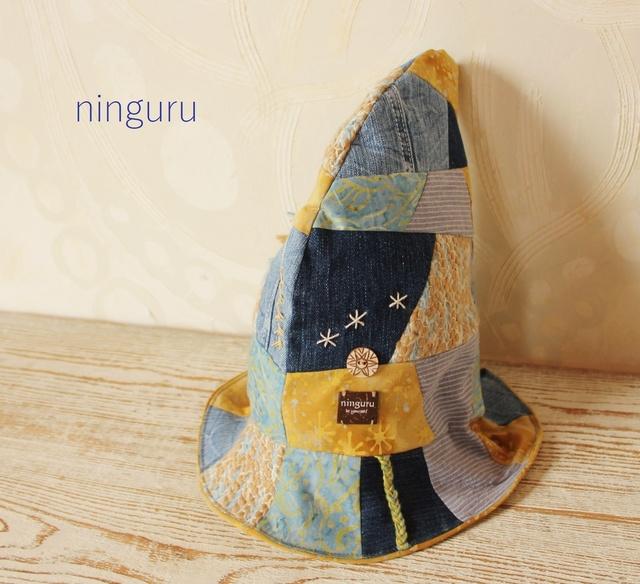 かわいい魔女のとんがり帽子 デニム×黄色(kid's)☆彡kana-ryo様オーダー品