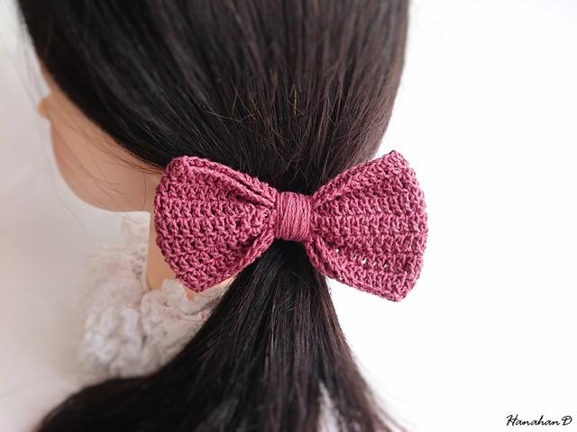コットンリボンのヘアゴム 手編みガーネット