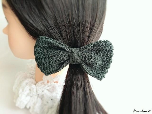 コットンリボンのヘアゴム 手編みモスグリーン