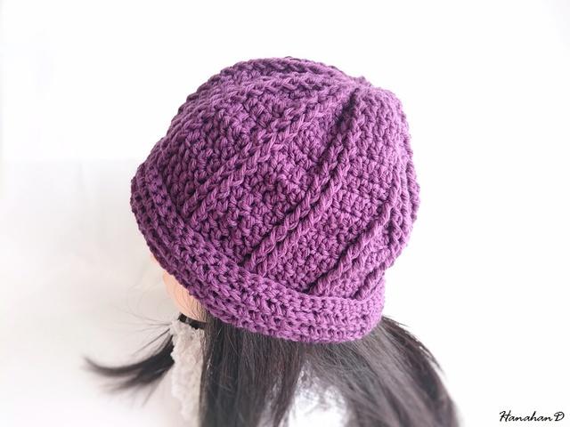 やわらかニット帽子 手編みウール パープル