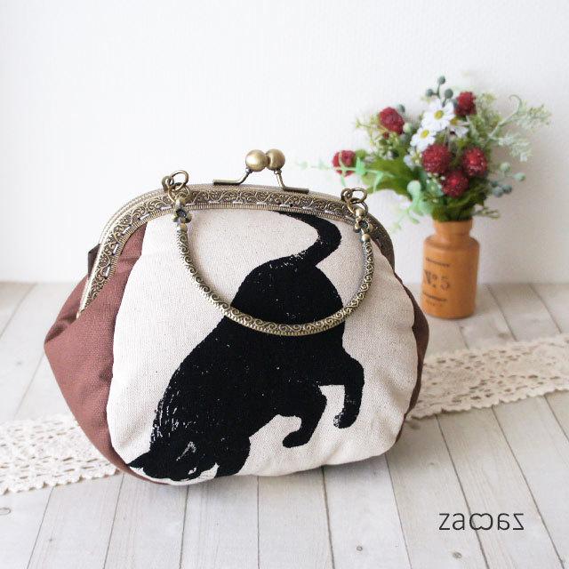 【販売終了】がま口手提げバッグ*気まぐれな黒猫B