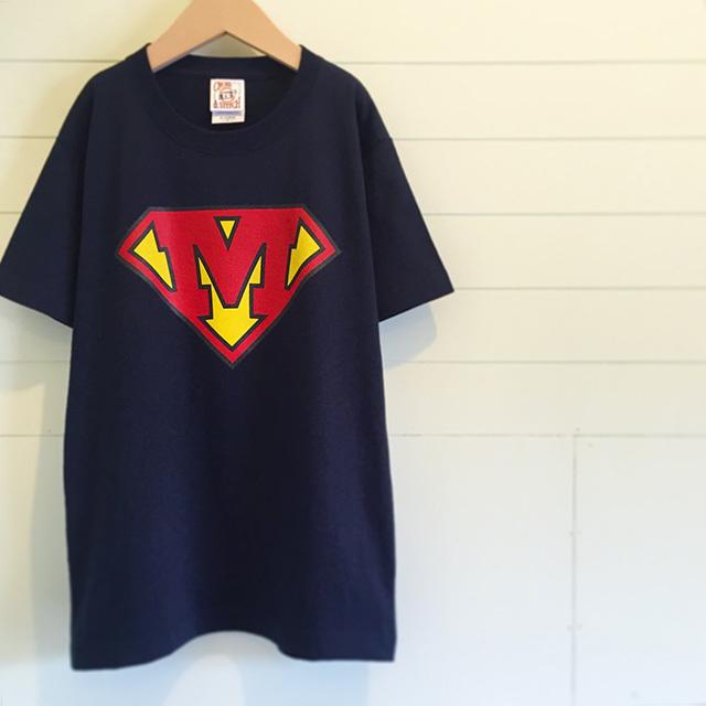 42261731851f8 Superman /ネイビー - イニシャルオーダーTシャツ