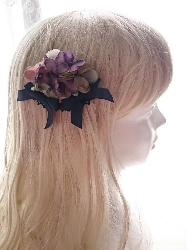 花のスリーピン 〜黒紫〜