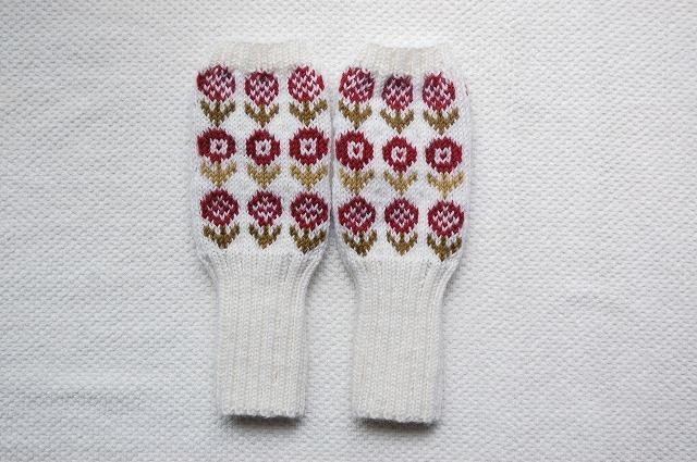【cno1さまリクエスト品】手編みの指なしミトン  【18 Fiori 】赤