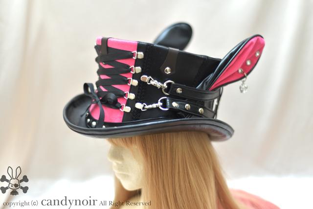 乙女の正義、黒とピンクのコルセットハ...