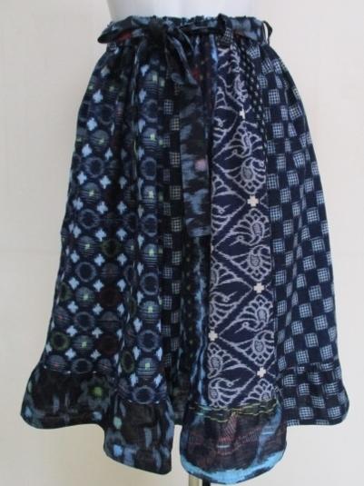 着物リメイク 絣で作った膝丈スカート 1767