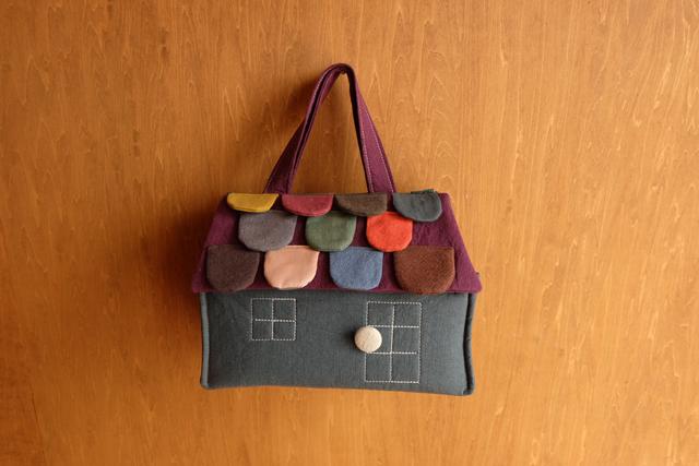OUCHI box bag S ロング    ブルーグリーン+mix屋根