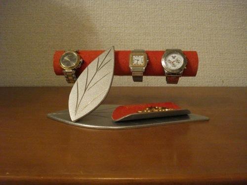 ダブルリーフトレイ付き時計インテリア収納スタンド レッド!!