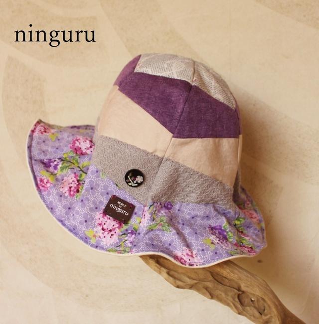 落ち着いた 紫×シルバーの チューリップハット