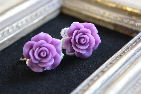 薔薇のイヤリング(パープル)送料無料