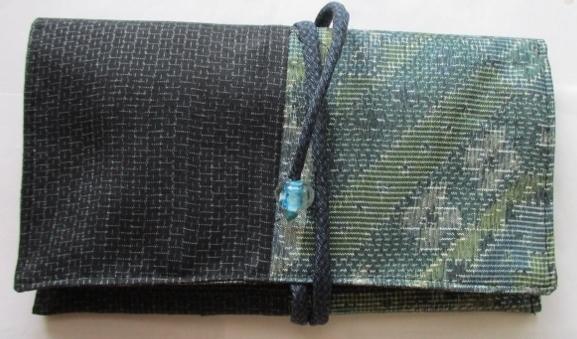 着物リメイク 藍大島と紬で作った和風財布 1768