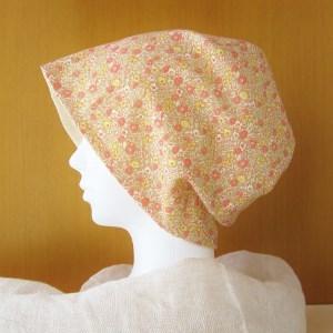 夏に涼しく下地にもなる ゆったりガーゼ帽子 花柄/アイボリー (CGR-005-FI)