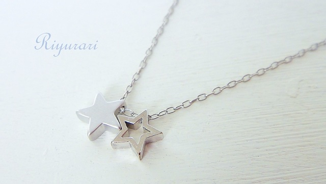 Twin-Star necklace (silver color��