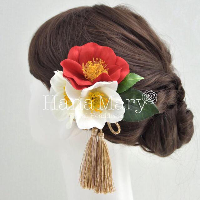 白椿と赤椿の髪飾り